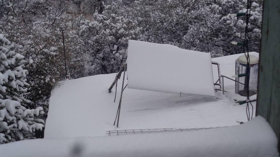 Snow on the solar panels