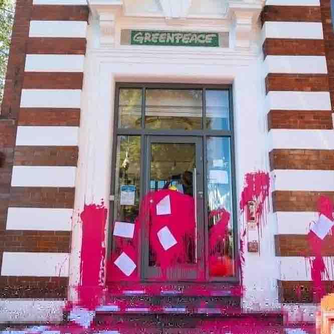 Greenpeace office splattered by Beyond Politics